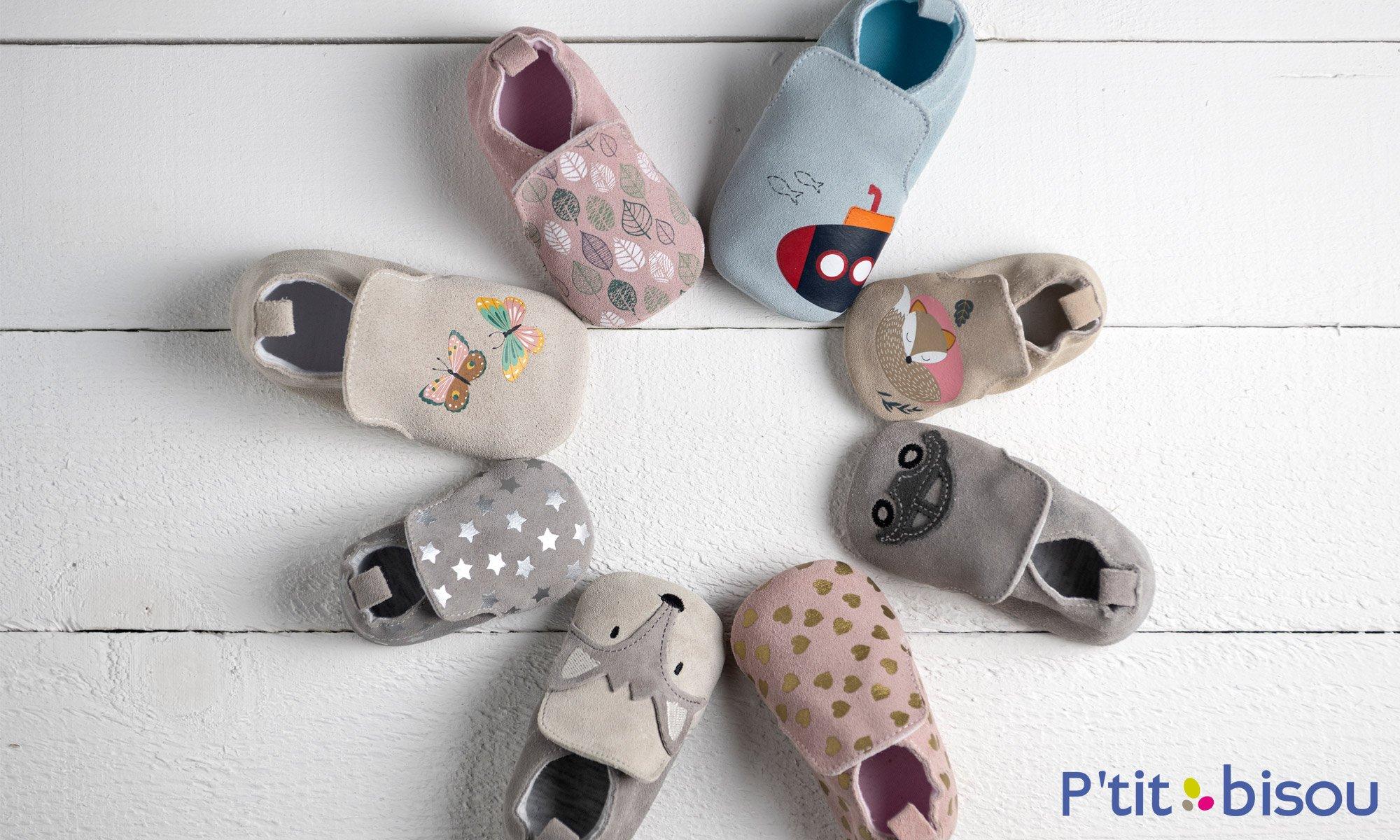 Collection chaussons en cuir bébé de P'tit bisou