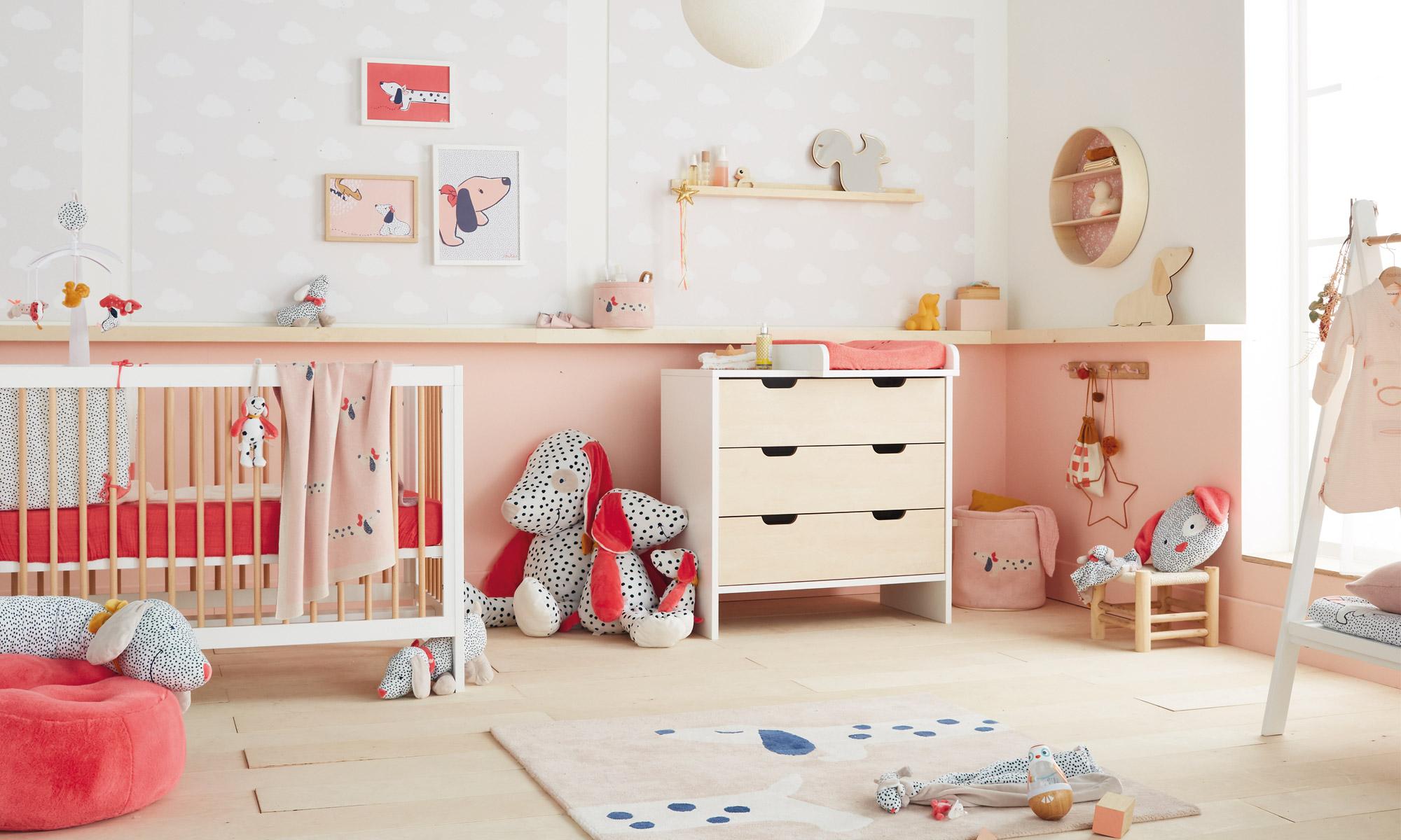 Chambre Rose Poudré Fille thèmes coordonnés pour chambre de bébé fille | aubert